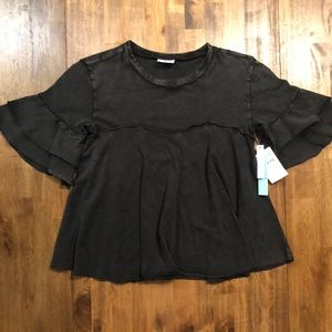 NWT Black Distressed Short Sleeve Flowy Top ABOUND